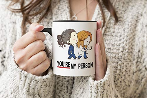 Greys Anatomy You Are My Person Anime Schwarzer Griff Becher Kaffee Tee Becher 330 ml Mug Cup Tasse
