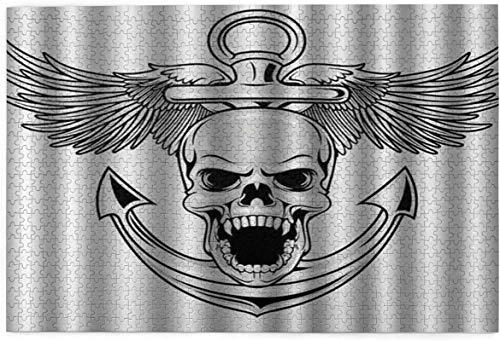 Jigsaws 1000 piezas para adultos y niños 29.5 x 19.6 pulgadas (75 x 50 cm) Alas de águila de la libertad, Diablo cazador de mar, esqueleto intelectual, juguete de descompresión sin marco