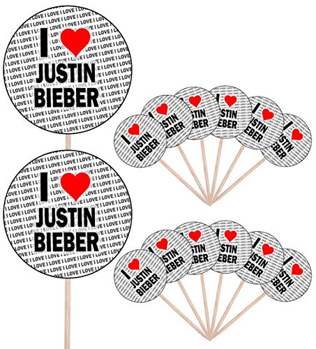 I Love Justin Bieber – Party Food – Cake Cupcakes – Picks Sticks – Food Flaggen – Stand Up Decorations Toppers (14 Stück)