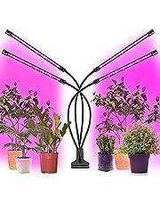 LED plantenlamp volledig spectrum, plantenlamp LED 40W, 4 koppen 72 LED's Grow Light Plantenlamp met timingfunctie, 3 timers 4/8/12H, 3 soorten standen, 5 dimbare niveaus voor tuinieren