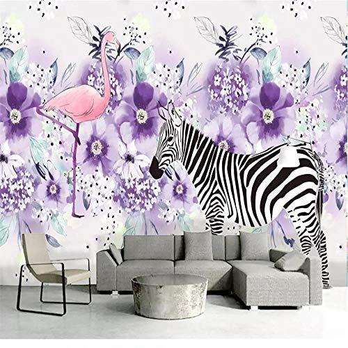 muurschildering muurschildering muurschildering behang verse hand beschilderde zebra bewegende paarse bloem plant decoratie schilderen high-grade waterdicht materiaal About 150*105cm 2 stripes