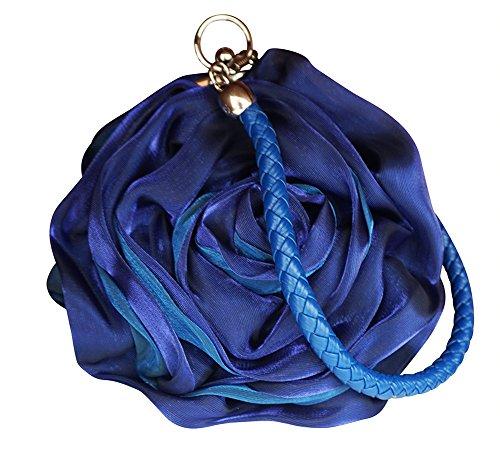Chicastic Small Flower Shaped Wristlet Wedding Evening Flower Girl Clutch Purse - Blue