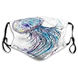 Activated Carbon Windproof mask,Jellyfish,Aqua Colors Art Ocean Animal Print Sketch Style Creative Sea Marine Theme,Blue White,Facial decorations for Unisex Adult Seniors(M)1447
