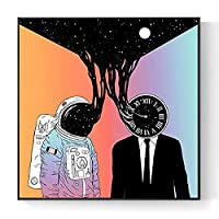 抽象的な宇宙飛行士キャンバス壁アート額入りスペースウォールプリントポスター、金属フレームとガラス、子供部屋の寝室の装飾