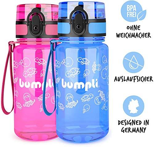 bumpli ® Kinder Trinkflasche - 350ml - schadstofffreie Kinderflasche mit auslaufsicherem 1-klick Verschluss - ideal für Kindergarten, Schule, Ausflüge - besonders leicht und robust (blau)