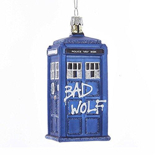 Kurt Adler 4.25' Doctor Who Bad Wolf Tardis Glass Ornament Standard