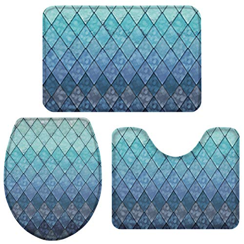 3 Pieces Bathroom Rugs and Mats Sets, Non Slip Water Absorbent Bath Rug, Toilet Seat/Lid Cover, U-Shaped Mat, Home Decor Doormats - Ocean Mermaid Fish Scales Geometric Rhombus