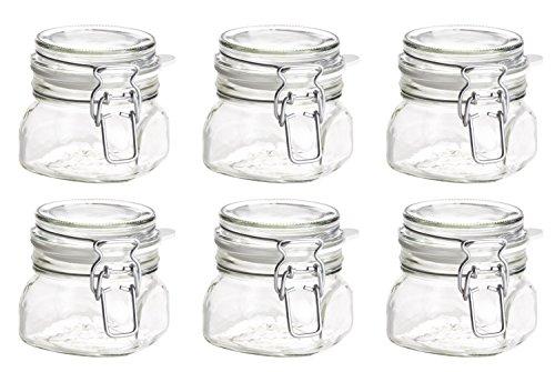 Mäser Serie Gothika, Einmachglas mit Deckel 30 cl, mit Bügelverschluss, im 6er-Set, Glas, Transparent, 6-Einheiten