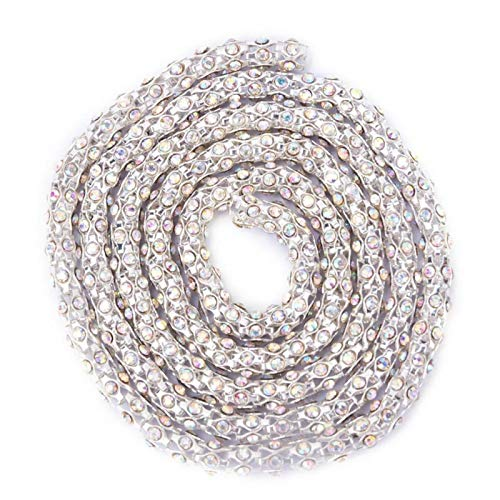1 yarda de cadena de diamantes de imitación, cadena de garra con recorte de perlas de cristal para vestido, costura DIY, fabricación de joyas(6mm Silver Pearl)