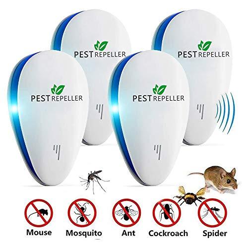Moonssy Repellente ad Ultrasuoni per Topi Scacciatopi Ultrasuoni Repellente Antizanzare Dissuasore per Topi Zanzare ed Insetti Bianco 4 Pack