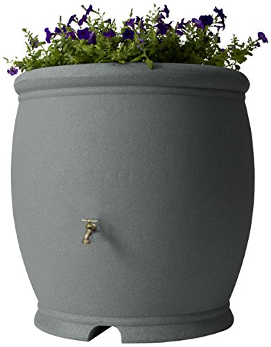 Algreen Products Barcelona Rain Barrel 100-Gallon, Charcoalstone