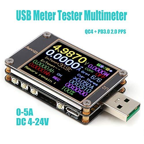 USB Tester Meter Voltmeter USB Multimeter Spannung Strom USB Spannungsprüfer Amperemeter Messgerät LCD Display USB 3.0 Typ-C Kabelwiderstand kapazität lastmessung Ladegerät PD QC 2.0/3.0