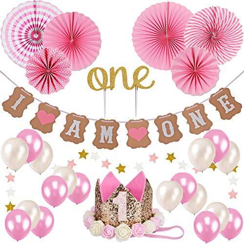 Baby Mädchen ersten Geburtstag Dekorationen Set, Rosa Thema 1. Geburtstag Dekorationen Kit, Cake Topper, einer, ich bin einer und Sterne Banner + rosa und weiße Luftballons, rosa Papier Fan Blume