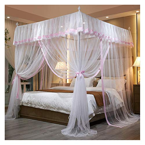 YPSOU Toldo de 4 esquinas con diseño de princesa, para niñas, elegante, 3 aperturas, toldo cifrado, mosquitero con soporte metálico (tamaño: 180 x 200 x 200 cm, color: rosa)