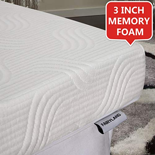 Fairyland 3 Inch Memory Foam Mattress Topper King Size, Cooling Relieving Mattress Pad for Bed with Bamboo Fiber Cover