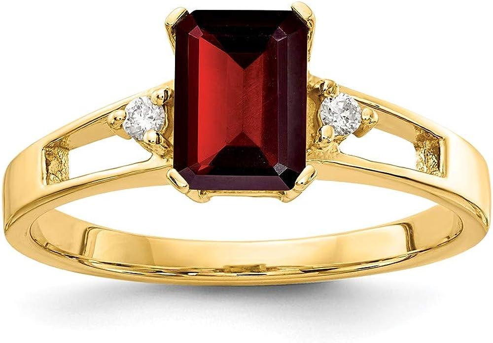 Solid 14k Yellow Gold 7x5mm Emerald Cut Garnet January Red Gemstone Diamond Engagement Ring (.04 cttw.)