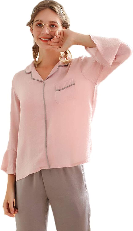Women's Pajamas, Long Sleeve Sleepwear Soft Pink Suit LXL,L