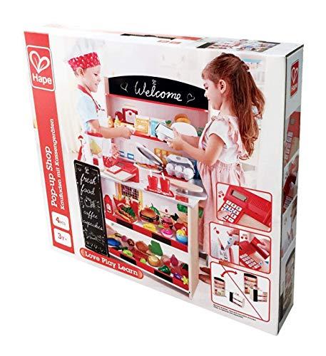 Hape E3159 Kaufladen mit Kasse & Scanner, Kaufmannsladen aus Holz, Mehrfarbig