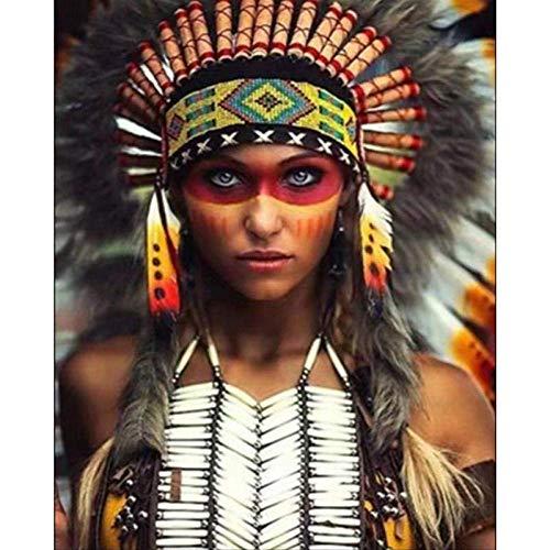 LIXIESHA Malen nach Zahlen DIY Indigene Völker Figur Leinwand Hochzeitsdekoration Kunst Bild Geschenk-No Frame-40x50cm