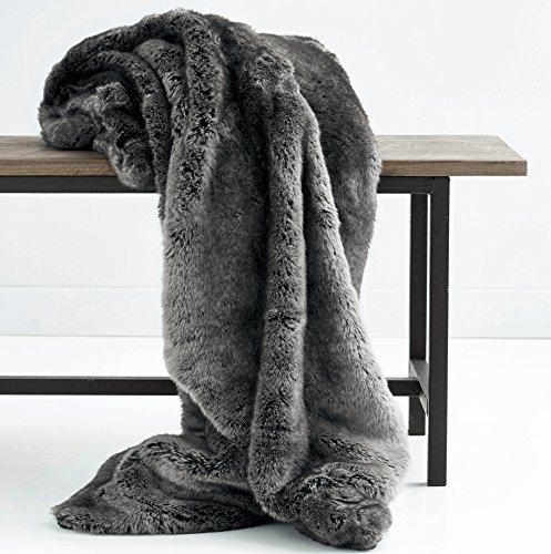 Luxus Kunstfell Übergroße Überwurf Decke mit Plüsch Samt Rückseite, Fox Lynx oder grau Mink Modern Midnight Grey