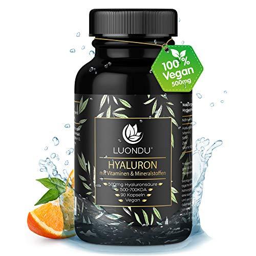Hyaluronsäure Kapseln hochdosiert 500mg Anti-Aging*, Haut & Gelenke* - 90 Stück (3 Monate) Hyaluron 500-700 kDa Vitamin B2, Zink, Selen & Vitamin C - Laborgeprüft, Vegan, hergestellt in DE