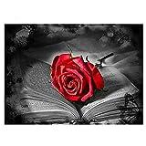 Reiichi Libro De Rosa Roja Diy Diamante Accesorios De Pintura De Diamante Completo Squareeround Drill Flower 5d Mosaico Bordado Rhinestone Decoración De La Pared 12x18inch NoFramed