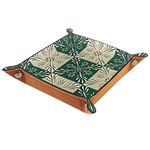 AITAI - Bandeja de piel vegana para mesita de noche, organizador de escritorio, diseño de copo de nieve especial