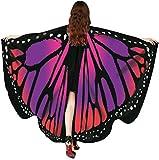 Disfraz de Mariposa, Bufanda de alas de Mariposa para Mujer, chales, Poncho de duendecillo de NINFA, Accesorios de Disfraz para espectáculo/Diario/Fiesta (Rojo)