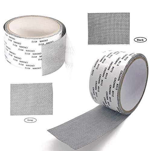 Raamafscherming Reparatie Sticker Anti-Insect Vliegen Bug Muggenhor Net Reparatie Patch Zelfklevende Scherm Reparatie Tape Glasvezel Mesh Patch Glasvezel Reparatie Tape met Sterke Lijm voor Raam (2 Rollen)