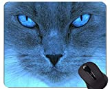Almohadilla para ratón con Borde Cosido, Ojos de Gato Azul, Base de Goma Antideslizante, tapete de ratón