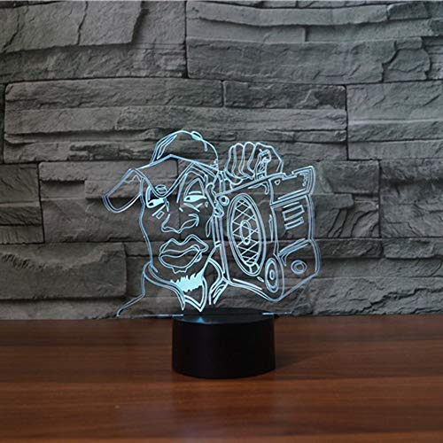 Lampe de nouveauté, Led Music Man Moulding Lampe de table Enfants Veilleuse 7 Couleurs visuel Ambiance De sommeil Luminaires Décoration Cadeaux Luminaire