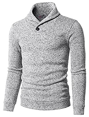 H2H Mens Knited Slim Fit Pullover Sweater Shawl Collar with One Button Point White US L/Asia XL (KMOSWL036) from