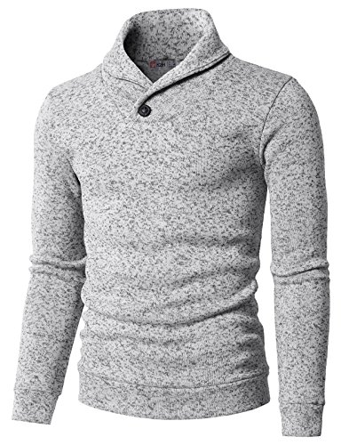 H2H Mens Knited Slim Fit Pullover Sweater Shawl Collar with One Button Point White US S/Asia M (KMOSWL036)