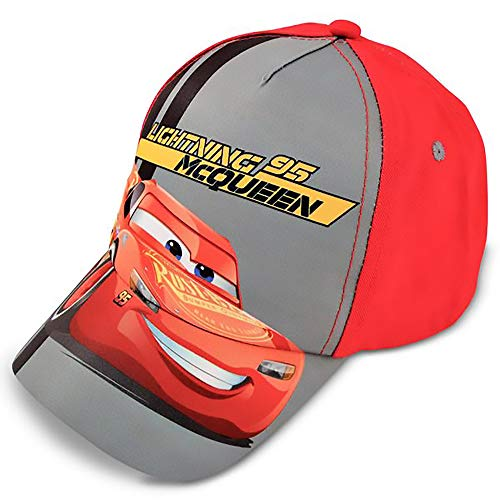 Disney boys Cars Lightning Mcqueen Cotton Baseball Cap, Grey Red, LITTLE BOY AGE 4-7 US