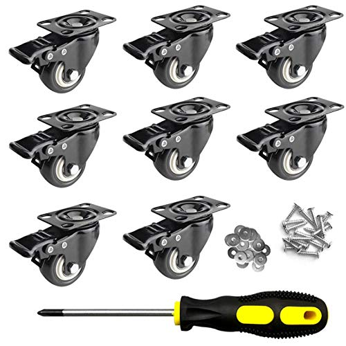 Caster Wheels, Caster Wheels 2 inch, Heavy Duty Caster Wheels, No Noise Swivel Casters Wheels, Polyurethane (PU) Casters Wheels with Brakes, 8 Pack WMMM
