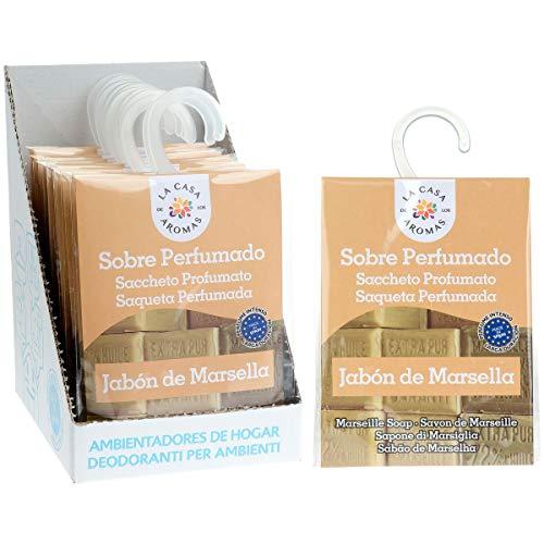 Sobres Perfumados, Bolsitas Aromáticas Aroma Jabón de Marsella, Saquitos para el Armario, Cajón, Ropa de Bebé, Zapatero, Maleta (Jabón de Marsella, 12 PCS)