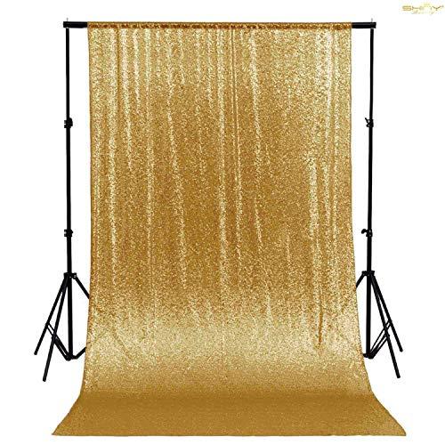 ShinyBeauty- Cortina de lentejuelas para fondo de fotografía, 120 x 180 cm. , dorado, 4FTx6FT