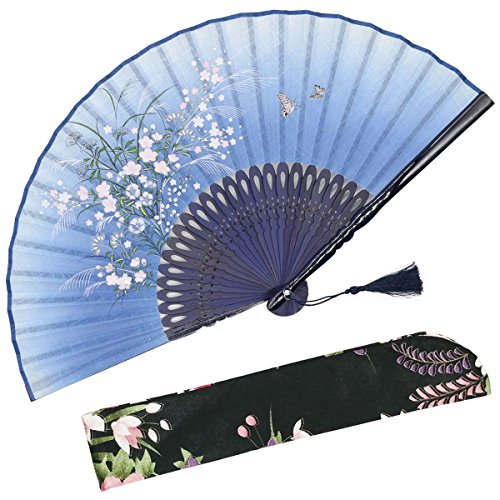 OMyTea Grassflowers 8.27(21cm) Hand Held Folding Fans - with a Fabric Sleeve for Protection for Gifts - Chinese/Japanese Vintage Retro Style (Blue)