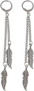ZZALLLKPOP Fashion Titanium Steel Feather Leaf Nappa Orecchini Pendenti Gioielli Coreani