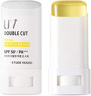 ETUDE HOUSE UV Double Cut Clear Sun Stick SPF50+/PA++++   Smooth Moisturizing Protection from UV Rays   Kbeauty