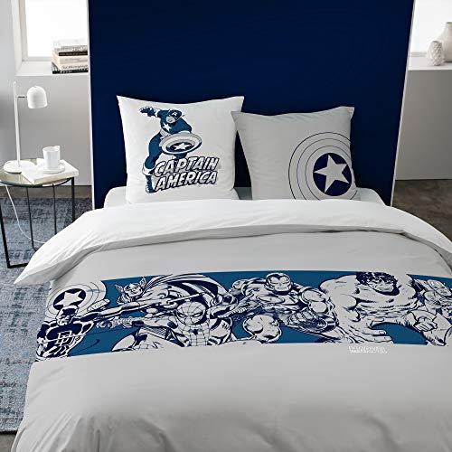 Avengers - Juego de funda nórdica y funda de almohada, 100% algodón