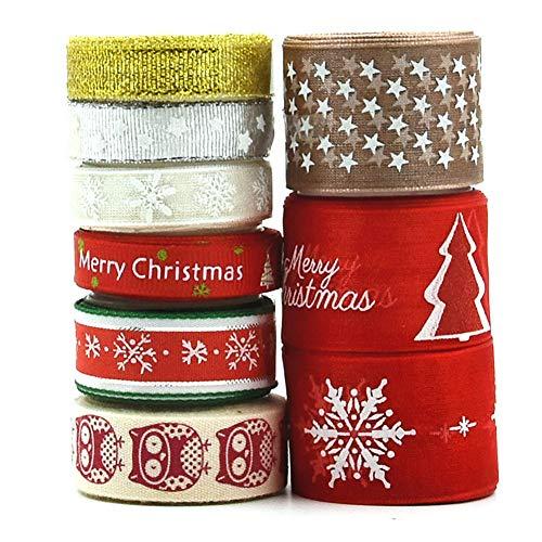 9 rollos de cinta de Navidad Grosgrain tela de raso de Navidad Cintas de Artesanía decoración Caja de regalo de envolver, clips de bricolaje Lazo para el cabello, de costura, de boda, de la ducha
