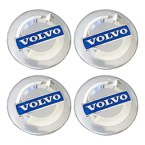YSTC 4Pcs 64mm Tapas Centrales Aleación Tapacubos para Volvo C70 S60 V60 V70 S40 S80 XC90, Juego de Tapacubos Prueba de Polvo, ProteccióN contra El óXido Hub Caps Center Auto Covers