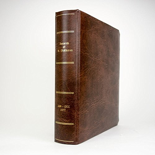 Portfolio Binder with Three Rings from Blumberg (Custom Gold Lettered on Spine, Brown Ex-Libris Self-Enclosed Binder)