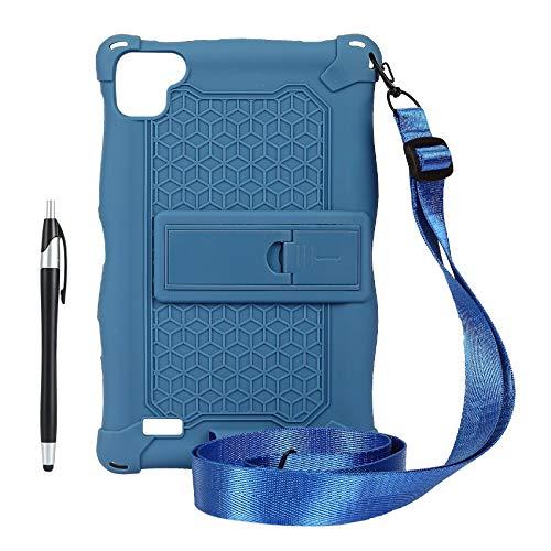 Fauge Funda para Tableta para P80 P80X P80H Funda de Silicona Antideslizante para Tableta de 8 Pulgadas Soporte para Tableta con Correa y BolíGrafo (Azul)