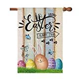 Hexagram Happy Easter Flags 28x40 Double Sided,Cute Bunny Eggs with Wood Barn Burlap Yard Sign, Spring Welcome Easter House Flag,Rustic Outdoor Easter Decorations