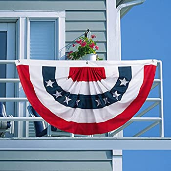 EDLDECCO American Flag Bunting 3x6 Feet USA Patriotic Pleated Fan Flag Stars and Stripes Banner for 4th of July Memorial Day Veterans Day Porch Garden