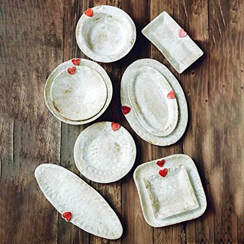 CCAN Vajilla de cerámica clásica, Juegos de vajilla de cerámica, Juego de combinación de Cena de gres Retro de 33 Piezas  Cuencos de Cereales Hechos a Mano/Platos de Carne para Regalos de Boda