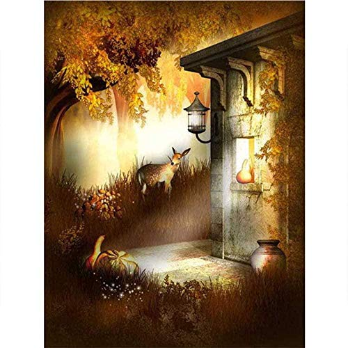 MeDnn 5D Diamant Schilderij Kits Volledige Boor Huizen en Herten Schilderij Gereedschap Set Strass Kristal Borduurwerk Foto Cross Stitch Home Muurdecoratie Ambachten (12x16inch) Frameless