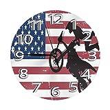 DZCP-y Got Dirt American Flag Reloj de Pared Relojes Decorativos Reloj de Pared Redondo
